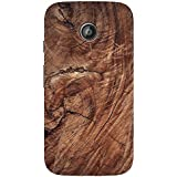 AMAN Brown Colour Wood 3D Back Cover For Motorola Moto E 2nd Gen