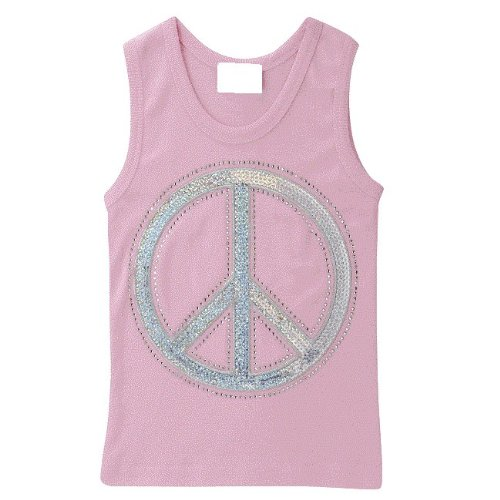 Lollipop Moon Silver Sequins Peace Pink Tank Top front-682589