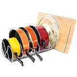 SONGMICS Adjustable Pan Organizer Rack Kitchen Cabinet Pot Lid Organizer Cookware Holder UKPR02G