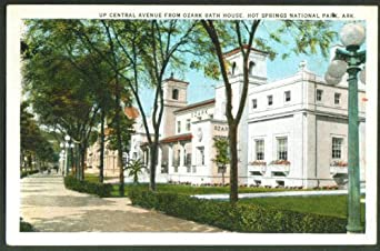 Central Ave Bath House Row Hot Springs AR postcard 1924