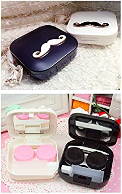 [WHITE Moustache]Special DIY Contact Lenses Box Case/Holders Storage Container