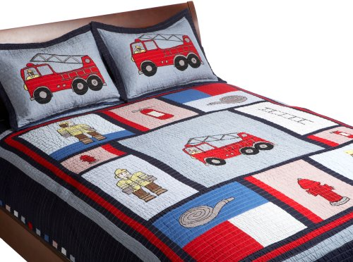Pem America, Fireman Collection, Twin 2-Piece Quilt Set, Navy front-979696