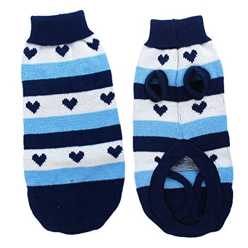 Water & Wood Ribbed Hem Heart Print Pet Dog Puppy Apparel Sweater XXS Blue White
