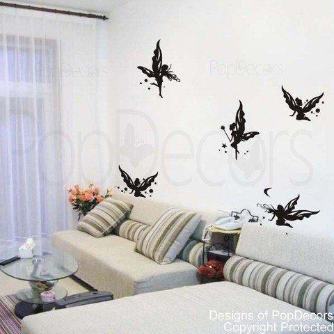 Popdecors - Butterfly Fairies - Custom Beautiful Tree Wall Decals For Kids Rooms Teen Girls Boys Wallpaper Murals Sticker Wall Stickers Nursery Decor Nursery Decals