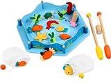 VOILA – ANGELSPIEL – Fischfang – Angel-Magnetspiel – Ein sehr amusantes Spiel bestehend aus 2 Angeln, einem Leichtbauschwimmbecken aus Stoff und Holz, und einer Auswahl von 4 Fischen, 7 anderen Marinegschöpfen, 3 Klumpen Seealgen und 2 Fischnetztaschen – Fische fangen! – Angeln – Hochwertiges Holzspielzeug mit Magnet für Kinder – Schön bunt und sehr langlebig! – Spielzeug für Generationen! – Unterstützen Sie die Erforschung vieler Sinne bei Ihren Kleinen!