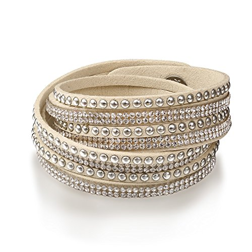 Fancydeli Regali di San Valentino di modo delle signore Slake Wrap Bracciale con cristalli regalo austriaco per la signora le donne i suoi