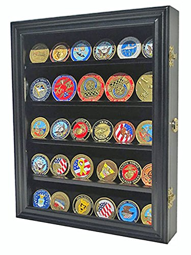 LOCKABLE Military Challenge Coin Display Case Cabinet Rack Shadow Box Wood, COIN30-BL (Plexi Display Case compare prices)