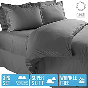 Nestl Bedding Microfiber Duvet Cover Set Includes 2 Pillow Shams 3 Piece Queen (Charcoal Gray)