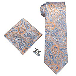 Landisun 67T Blue Paisley Mens Silk Neck Tie Set 67T Blue Orange, 3.25\