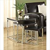 Coaster Home Furnishings 901063 Nesting Tables 3-Piece Set with Chrome Legs and Wood Top, Black