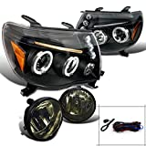 Toyota Tacoma Pick-up LED Halo Projector Black Headlights+Smoke Driving Fog Lamp