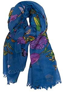 Floral Women's Butterfly Scarf Sarong in Blue