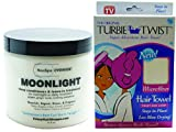 Bundle 2 Items: Frizzy Hair Shoppe, Neuclipse (New Era For Curls) Overnight Moonlight 16 Oz, Curl Moisturizer, Deep Conditioner, & No Frizz Leave In With Organic Argan Oil, Turbie Twist Super Absorbent Microfiber Towel White (1 Pack)