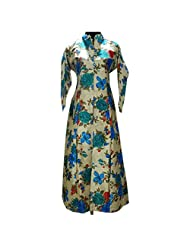 Beige Floral Print Work Bhagalpuri Silk Party Wear Kurti Semi Stitched