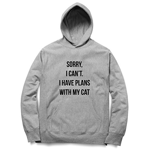 Sorry I Can't I Have Plans With My Cat Felpa Con Cappuccino / Hoodie Unisex Spedizione Veloce / S M L XL XXL dimensioni