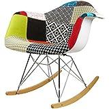 ModHaus Mid Century Modern Eames Style RAR Patchwork Fabric Upholstered Rocking Rocker Chair