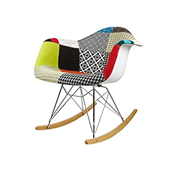 ModHaus Mid Century Modern Eames Style RAR Patchwork Fabric Upholstered Rocking Rocker Chair