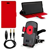 Red PU Leather Standing Cell Phone Wallet Case for Amazon Fire Phone 32GB & 64GB (AT&T) + Screen Protector + 3.5mm Auxiliary Cable + Air Conditioner Vent Mount