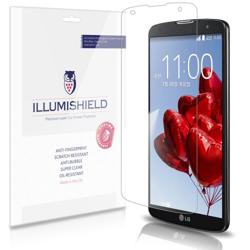 Illumishield - Lg G Pro 2 Screen Protector Japanese Ultra Clear Hd Film With Anti-Bubble And Anti-Fingerprint - High Quality (Invisible) Lcd Shield - Lifetime Replacement Warranty - [3-Pack] Oem / Retail Packaging