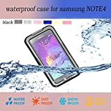 Samsung Galaxy Note 4 Waterproof case, Nika shop Ultra Water Resistant Waterproof Shockproof Crashproof Dustproof Dirt Proof Snow Proof Sand Proof Swimming Diving Hard Skin Protective Bumper Case Cover Defender with Impact Resistant Screen Protector Dirt Proof Durable Case Cover for Samsung Galaxy Note4 IV With Clear Screen Protector (1-Black)