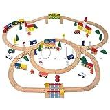 100-Piece Orbrium Toys Triple-Loop Wooden Train Set Fits Thomas Brio Chuggington