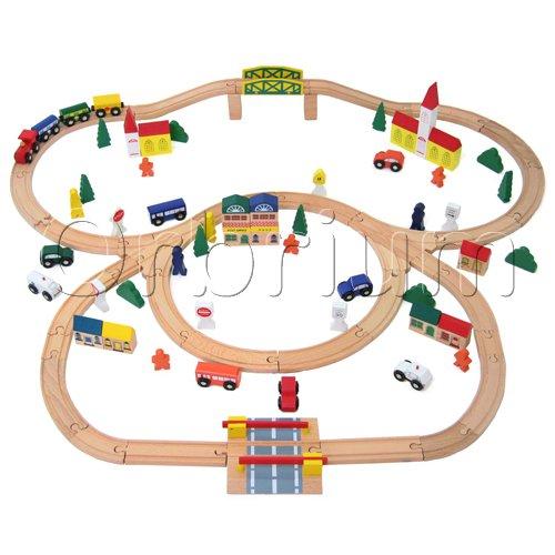 100 Piece Orbrium Toys Triple Loop Wooden Train Set Fits