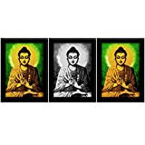 TiedRibbons Lord Buddha Framed Paintings(without Glass) For Home Decoration Set Of 3 (13.6 Inch X 10.2 Inch)