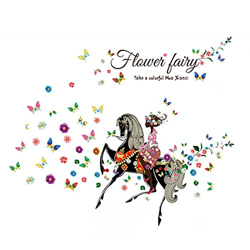 Horse Flower Girl Butterfly Removable Vinyl Wall Stickers Beauty Home Decors (College Girl Halloween Pics)