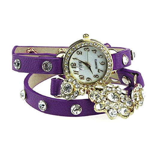 Doinshop (Tm) New Fashion Snowflake Diamond Weave Leather Bracelet Lady Womans Wrist Watch (Purple)
