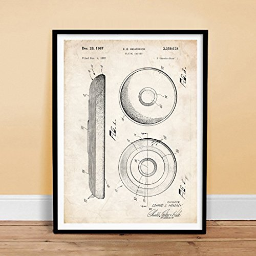 FRISBEE FLYING DISC SPORTS TOY 18x24 PATENT ART POSTER PRINT 1967 HEADRICK FLYING SAUCER GIFT UNFRAMED