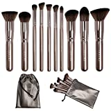 Docolor 10Pcs Makeup Brushes Set Kabuki Foundation Kits with Cases-Coffee