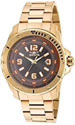 New Mens Invicta 19375 Pro Diver Gold Tone Steel Bracelet Watch