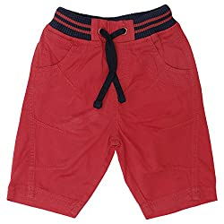 Boys Short with Waist Band, RED, 2-3Y