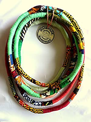 Unique/ African style yarn wrapped necklace/ African Wax Print Fabric/ Eye catcher