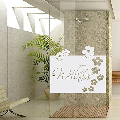 Sichtschutzdekor Duschtür Dusche Milchglasfolie für Badezimmer Spruch Blüten (Größe=80x57cm)