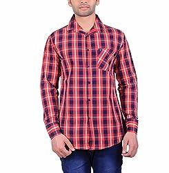 Cotblend Men's Casual Shirt (COTBLEBD14-L, Red, L)