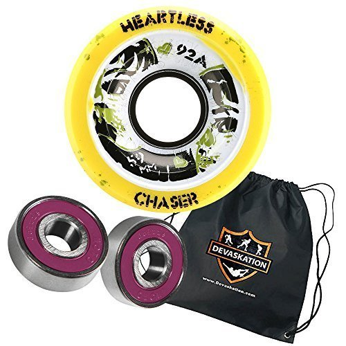 Heartless Quad Speed Skate Roller Derby Wheels Breaker 59mm 4pk Moto Deluxe Bearings, and Devaskation Drawstring Bag 3PC Bundle Color: Lemon 92A Size: 59mm 4pk Model: (Heartless Wheels compare prices)