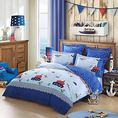 ELA LOVO KIDS Summer Nautical Ship 100% Cotton 300-Thread-Count Bedding Sheet Set 4pcs Full