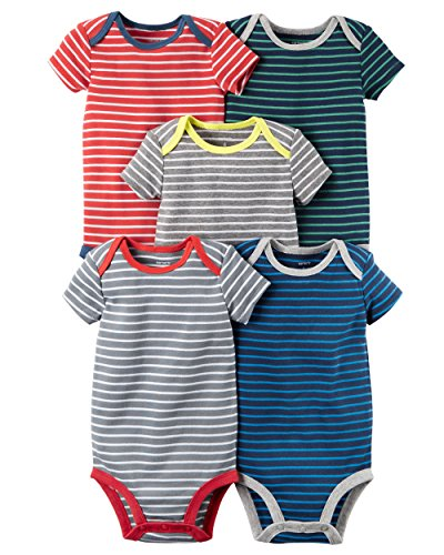 Carter's Baby Boys' 5 Pack Bodysuits (Baby) - Mixed Stripes 18M