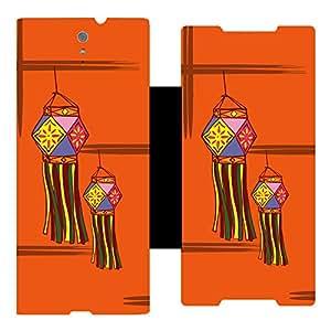 Skintice Designer Flip Cover with Vinyl wrap-around for Sony Xperia C5 , Design - Diwali lamp