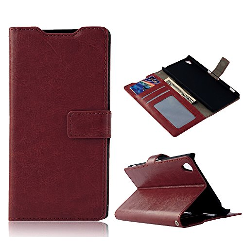 Z3 Case, Sony Xperia Z3 Case - Mollycoocle Fashion Style Colorful Wallet Style Credit Card Holder Case Magnetic Design Flip Folio Pu Leather Cover Standup Cover Case For Sony Xperia Z3(Brown)