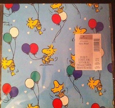 hallmark-peanuts-snoopy-woodstock-balloons-pkg-gift-wrap-bows-by-woodstock