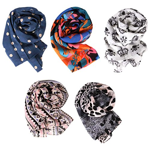5pc Colorful Lightweight Scarf Collection