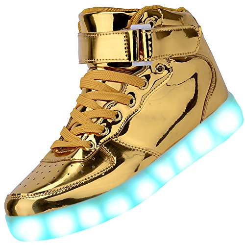 Odema Women High Top USB Charging LED Shoes Flashing Sneakers