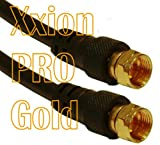 Xxion PRO Gold - 2 metre Male F Plug / Connector to Male F Plug / Connector Lead, Gold Plated Connectors, High Definition Pure OFC Low Loss Shielded RG59 Coaxial Cable - Suitable for use with Satellite, Aerial, Cable or CCTV applications - 75ohm