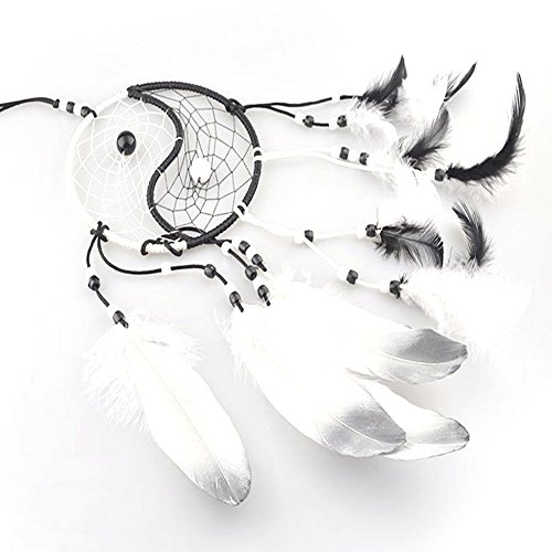 Weixinbuy Taiji Dream Catcher with Feather Wall Car Hanging Decoration Ornament