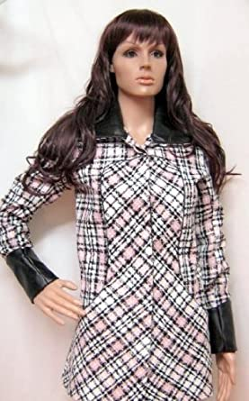 Tweed Faux Leather coco style short jacket blue pink black Size 8 to (18, Pink)
