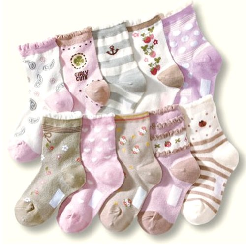 Deer Mum 5X Pairs Girl'S Lovely Soft Different Patterns Socks(7Y-12Y) front-199994