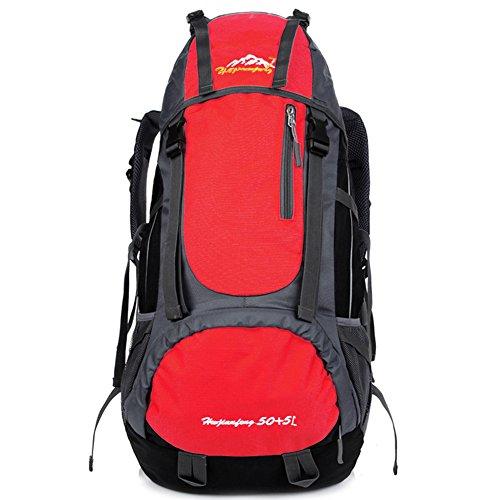 Candora escursionismo zaino grande capacità leggero impermeabile alpinismo zaino 55L, Red