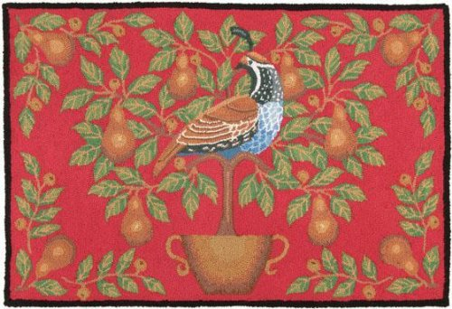 Partridge And Pear Area Rug, 27x40, RED/GOLD